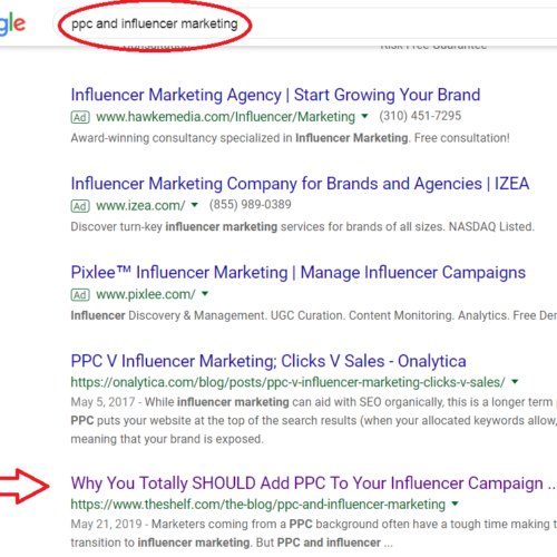 PPC and Influencer Marketing Rank #2.2